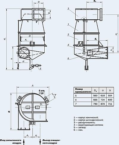 [Изображение: чертежи промывателей СИОТ с №5 по №7]