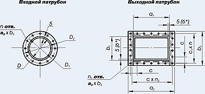 [Изображение: чертежи фланцев патрубков скоростных промывателей СИОТ]